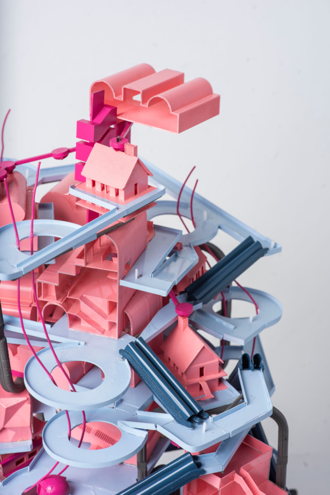 pink and blue layered architecture model