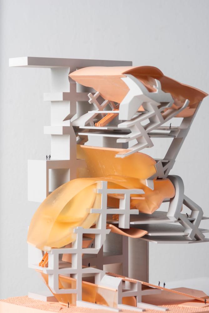 grey orange architecture model