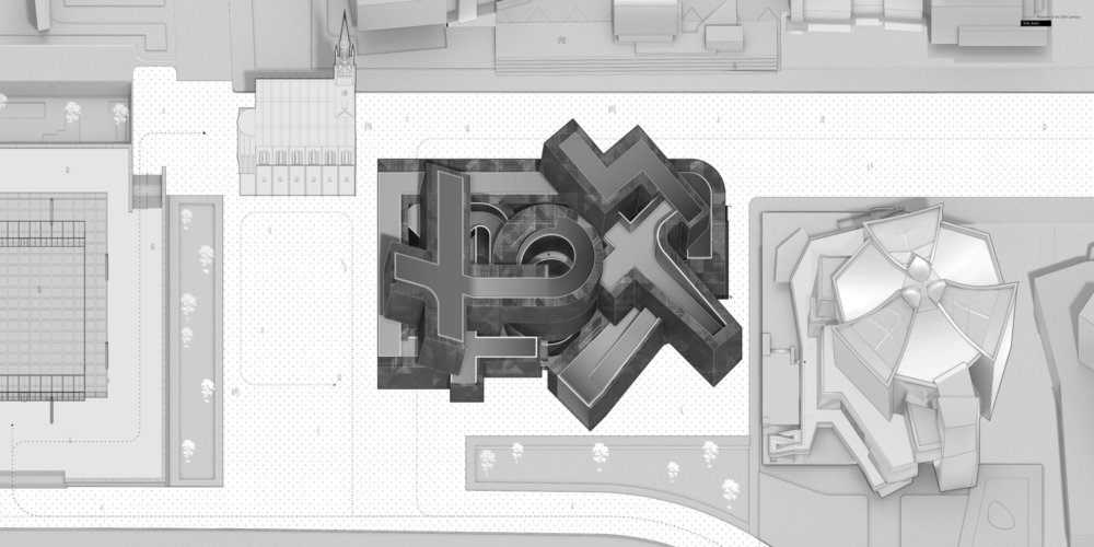 grey and white site plan with context