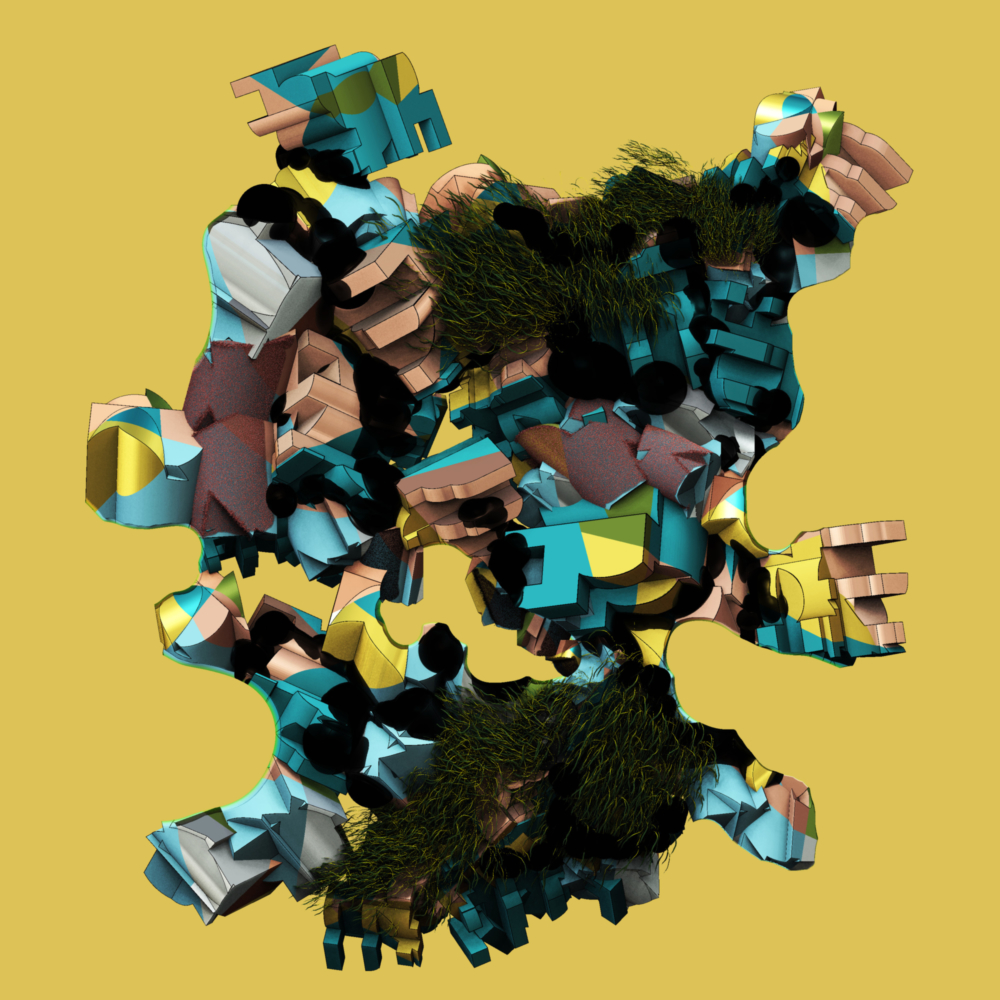 surreal floating colorful shapes on yellow background