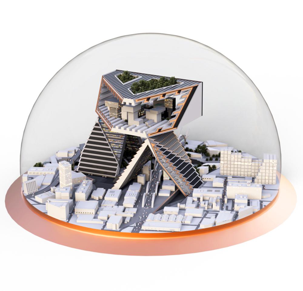 building in globe architecture model