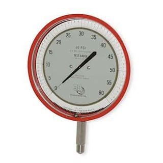 "3D Instruments 25544-22B53 4.5"" Test Gauge, Bottom Mount, 0 to 60 psi, Red"