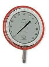 "3D Instruments 25545-21B53 6"" Test Gauge, Bottom Mount, 0 to 30 psi, Red"