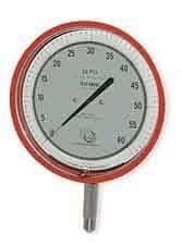 "3D Instruments 25545-23B53 6"" Test Gauge, Bottom Mount, 0 to 100 psi, Red"