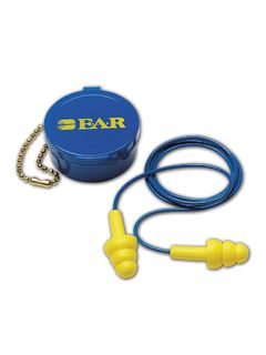 3M 340-4002 3M E-A-R 340-4002 UltraFit Reusable Corded Earplugs, Blue/Yellow