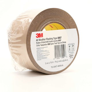 3M 8067 All Weather Flashing Tape 8067 Tan, 3 in x 75 ft Slit Liner, 12 per case
