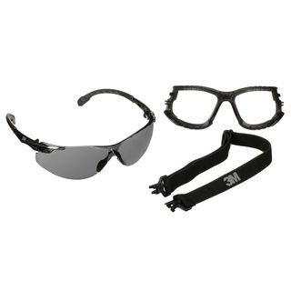 Solus™  1000 Series, S1502SGAF-KT, Blk Temples, Scotchgard™ Anti-Fog Coating, Gray AF-AS lens, Foam/Strap, 20ea/cs