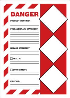 "Accuform LZH103VSP GHS Labels, Danger, Solid Red Background, 7"" x 5"", Adhesive Vinyl, 5/pk"