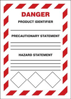 "Accuform LZH105VSP GHS Labels, Danger, Chevron Red Border, 7"" x 5"", Adhesive Vinyl, 5/pk"