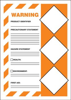 "Accuform LZH303VSP GHS Labels, Warning, Solid Orange Background, 7"" x 5"", Adhesive Vinyl,"