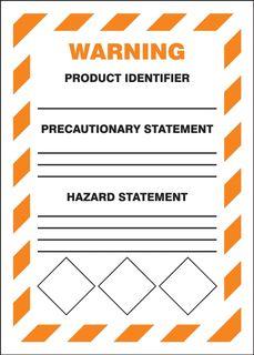 "Accuform LZH305VSP GHS Labels, Warning, Chevron Orange Border, 7"" x 5"", Adhesive Vinyl, 5/"