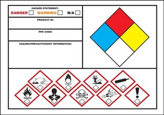"""Accuform LZN110 GHS Labels, GHS and NFPA Combination, 3.5"""" x 5"""", Adhesive Poly Vinyl"""