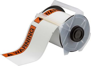 BRADY 133139 GlobalMark Series ToughWash Label: Vinyl, Black/Orange on White, 4 in W x 50 ft L