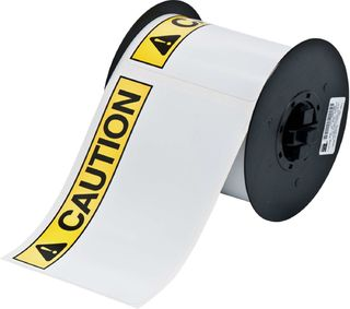 BRADY B30-25-595-ANSICA B30 Series Label: Vinyl, ANSI CAUTION, Black/Yellow on White, 4 in H x 6 in