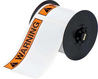 BRADY B30-25-595-ANSIWA B30 Series Label: Vinyl, ANSI WARNING, Black/Orange on White, 4 in H x 6 in