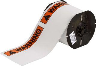 BRADY B30-25-854-ANSIWA B30 Series Label: Polyester, ANSI WARNING, Black/Orange on White, 4 in H x 6