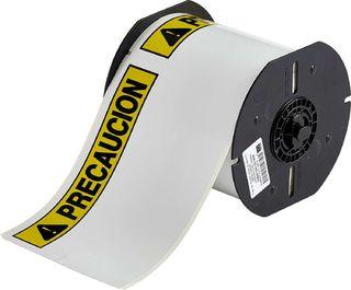 BRADY B30-25-854-PREC B30 Series Label: Polyester, PRECAUCION, Black/Yellow on White, 4 in H x 6.25