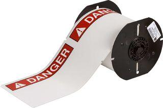 BRADY B30-25-855-ANSIDA B30 Series Label: Polyester, ANSI DANGER, Red on White, 4 in H x 6.25 in W