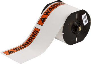 BRADY B30-25-855-ANSIWA B30 Series Label: Polyester, Black/Orange on White, 4 in H x 6.25 in W