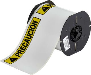 BRADY B30-25-855-PREC B30 Series Label: Polyester, PRECAUCION, Black/Yellow on White, 4 in H x 6.25