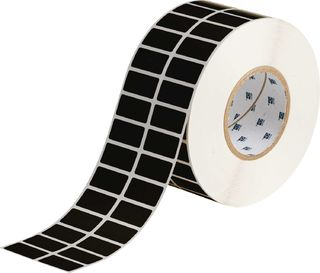 BRADY THT-6-8117-10 Thermal Transfer Printer Label: Polyester, Clear on Black, 0.75 in W x 1.5 in H