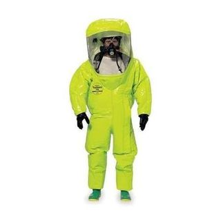 Tychem® 10000 Encapsulated Level A Suit, Flat Back, Front Entry, Att. Gloves and Socks, Double Taped Seams, Lime Yellow, 3X, 5C