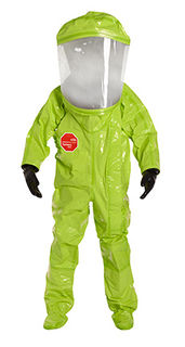 Tychem® 10000 Encapsulated Level A Suit, Flat Back, Front Entry, Att. Gloves and Socks, Double Taped Seams, Lime Yellow, LG