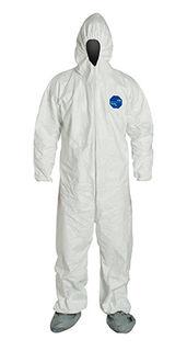 DuPont TY122SWH5X0025NF Tyvek® 400 Coverall, Respirator Hood, Elastic Wrists and Waist, Att. Ski