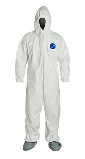 Tyvek® 400 Coverall, Respirator Hood, Elastic Wrists and Waist, Att. Skid-Resistant Boots, Serged Seams, White, XL
