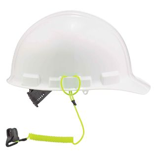 Ergodyne 19159 3158  Lime Coil Hard Hat Lanyard with Clamp