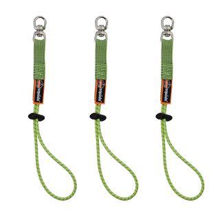 Ergodyne 19765 3713 Standard Lime Elastic Loop Tool Tails Swivel - 10lbs 3-pack