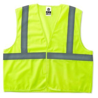 Ergodyne 20973 8205HL S/M Lime Type R Class 2 Super Econo Mesh Vest