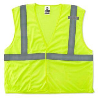 Ergodyne 21027 8210HL 2XL/3XL Lime Type R Class 2 Economy Mesh Vest