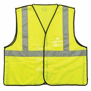 Ergodyne 21095 8216BA L/XL Lime Type R Class 2 Breakaway Mesh Vest w/ ID Holder