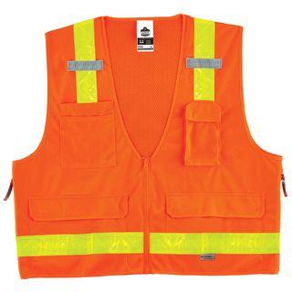 Ergodyne 21435 8250ZHG L/XL Orange Type R Class 2 Hi-Gloss Surveyors Vest