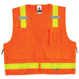 Ergodyne 21437 8250ZHG 2XL/3XL Orange Type R Class 2 Hi-Gloss Surveyors Vest