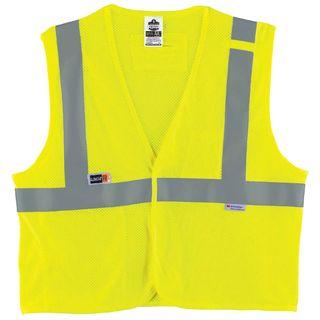 Ergodyne 21499 8260FRHL 4XL/5XL Lime Type R Class 2 FR Modacrylic Vest