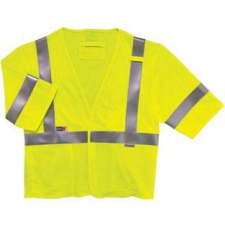 Ergodyne 22219 8356FRHL 4XL/5XL Lime Type R Class 3 FR Modacrylic Vest