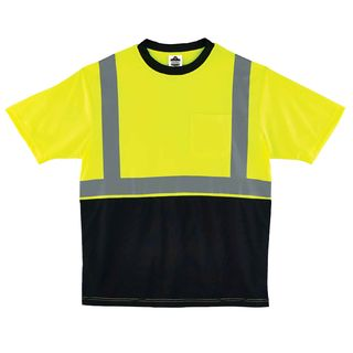 Ergodyne 22508 8289BK 4XL Lime Type R Class 2 Black Front T-Shirt