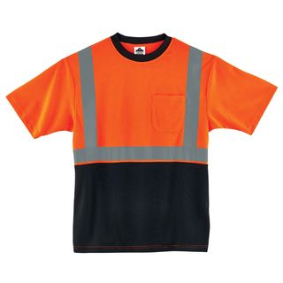 Ergodyne 22517 8289BK 3XL Orange Type R Class 2 Black Front T-Shirt