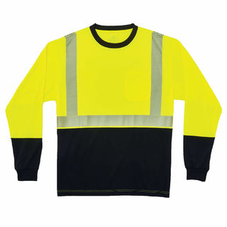 Ergodyne 22638 8281BK 4XL Lime Type R Class 2 Black Front Long Sleeve T-Shirt