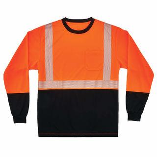Ergodyne 22687 8281BK 3XL Orange Type R Class 2 Black Front Long Sleeve T-Shirt