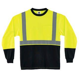 Ergodyne 22707 8291BK 3XL Lime Type R Class 2 Black FrontLong Sleeve T-Shirt