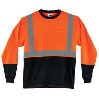 Ergodyne 22717 8291BK 3XL Orange Type R Class 2 Black FrontLong Sleeve T-Shirt