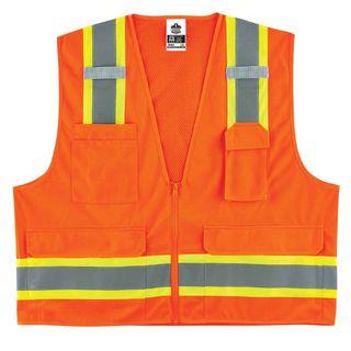 Ergodyne 24067 8248Z 2XL/3XL Orange Type R Class 2 Two-Tone Surveyors Vest