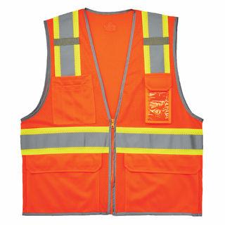 Ergodyne 24133 8246Z S/M Orange Type R Class 2 Two-Tone Mesh Vest w/ Reflective