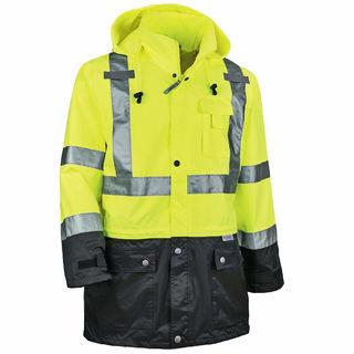 Ergodyne 25327 8365BK 3XL Lime Type R Class 3 Black Front Rain Jacket
