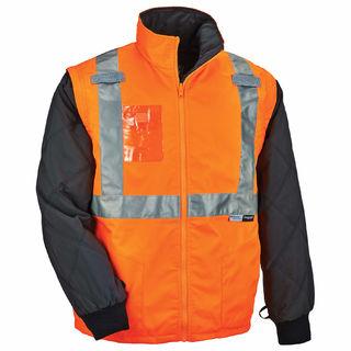 Ergodyne 25518 8287 4XL Orange Type R Class 2 Convertible Thermal Jacket