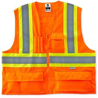 Ergodyne 26185 8235ZX L/XL Orange Type R Class 2 Two-Tone X-Back Vest