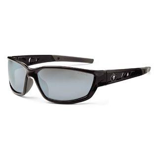 Ergodyne 53042 KVASIR Silver Mirror Lens Black Safety Glasses